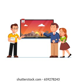 Seller or shop assistant showing big wall tv screen to customers man and woman. Family couple clients at electronics store. Retail business. Flat style vector illustration isolated on white background