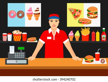 The seller of a young man smiling to customers in fast food cafe. Flat vector illustration