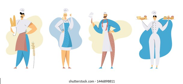 Sellers or Restaurant Workers Set. Butcher with Knife and Sausages, Bakers with Pastry and Bakery Production, Employees in Chief Toque and Uniform . Meat and Bake Shop Cartoon Flat Vector Illustration