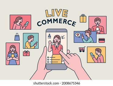 Selling goods on mobile screen and hand is touching the screen. People are shopping around with their smartphones. flat design style minimal vector illustration.