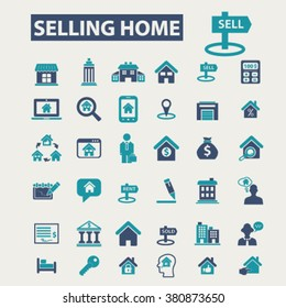 selling home, real estate icons