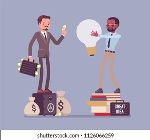 Selling the idea. Businessmen at deal for money, rich man pays to creative thinking guy for new method, idea, product. Vector flat style cartoon illustration. Business and marketing management concept