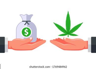 selling marijuana to customers. drug addiction. illegal business of a dealer dealer. flat vector illustration.