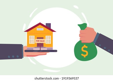 Selling property vector concept: Hand of man giving money and getting a new house