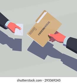Selling the secret information. Male hands passing confidential folder and envelope with money.