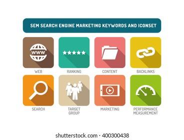 SEM Search Engine Marketing Flat Icon Set