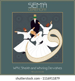 SEMA, is a ritual of Mevlevi belief. Mevlevihane / Mevlevi House is where these ceremonies took place. This graphic can be used as a wallboard, sticker, banner, gift card or book separator.