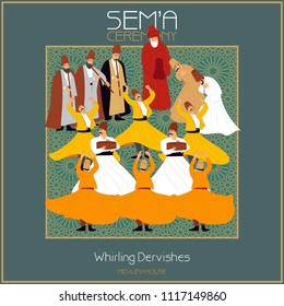 SEMA is a ritual of Mevlevi belief. Mevlevihane / Mevlevi House is where these ceremonies took place. This graphic can be used as a wall clock, banner, gift card or book separator.