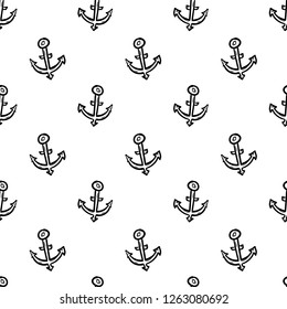 Semaless pattern Handdrawn anchor doodle icon. Hand drawn black sketch. Sign symbol. Decoration element. White background. Isolated. Flat design. Vector cartoon illustration.