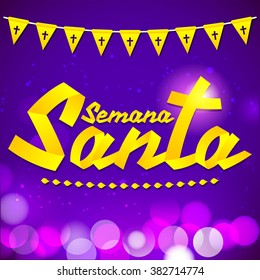 Semana Santa - Holy Week spanish text - Golden ribbon vector lettering, Latin religious tradition before Easter