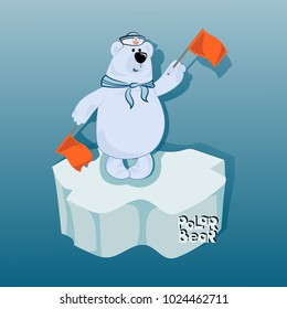Semaphore alphabet and bear sailor with semaphore flags. Emblem, poster with a polar bear. Design for printing on fabric or paper. Illustration for children's book in cartoon style.