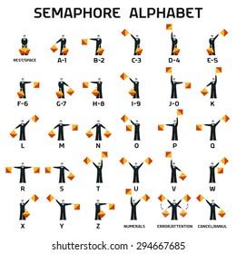 Semaphore alphabet flags on a white background in black uniform