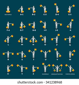 Semaphore alphabet icons set with man and flags on blue background flat isolated vector illustration
