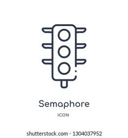 semaphore icon from transport outline collection. Thin line semaphore icon isolated on white background.