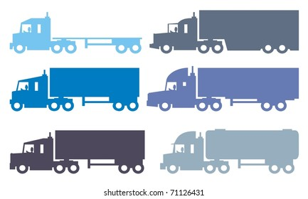 Semi articulated trucks or lorries - Automotive colorful vector silhouette illustration set