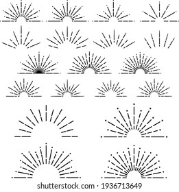 Semi circular sunburst design set (line of light)