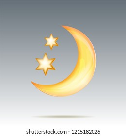 Semi monthly and stars in night sky. Image of moon for Weather forecast icon. Vector illustration