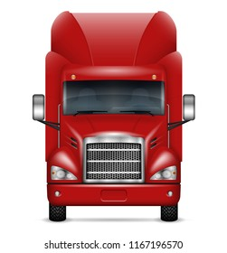 Semi trailer truck front view on white background. Isolated red lorry realistic vector illustration. All elements in the groups on separate layers for easy editing and recolor