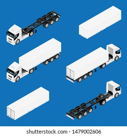 Semi trailer truck vector mockup for car branding and advertising. Isolated lorry Cargo vehicle set on blue background. Isometric view