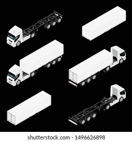Semi trailer truck vector mockup for car branding and advertising. Isolated lorry Cargo vehicle set on black background. Isometric view