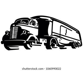 Semi Transport Truck - Retro Clip Art Illustration