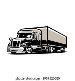 Semi Truck 18 Wheeler with Trailer vector isolated. Big Rig vector