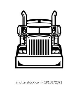 Semi truck 18 wheeler trucker front view vector isolate
