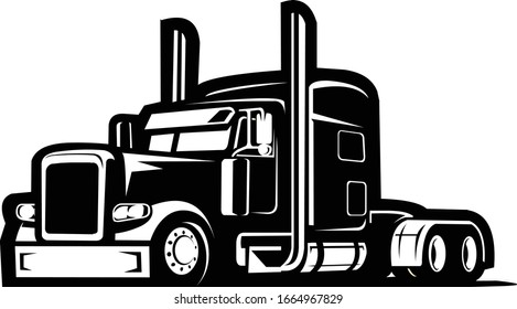 Semi Truck 18 wheeler Vector Side View