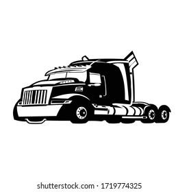 Semi truck black white heavy