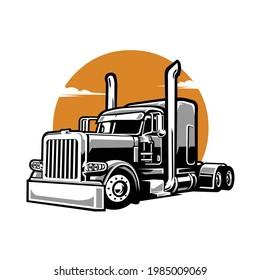 Semi Truck Illustration Silhouette Vector Isolated EPS