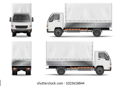 Semi truck isolated on white. Commercial realistic cargo lorry mockup. Delivery truck vector template from side, back, front View.