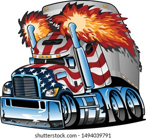 Semi Truck Tractor Trailer with Stars and Stripes Cartoon Isolated Vector Illustration