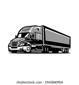 Semi Truck Trailer 18 wheeler vector isolated
