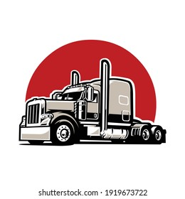 Semi truck vector images isolated in red background