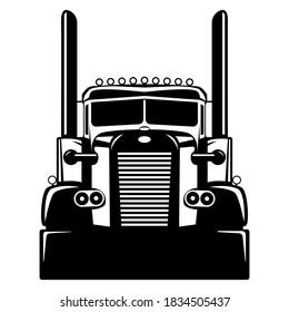 Semi USA truck, vector illustration , flat style, front