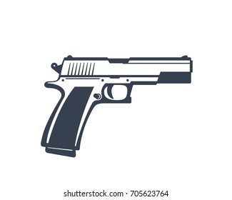 semi-automatic pistol, handgun isolated on white