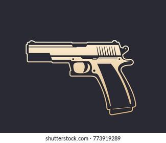 semi-automatic pistol, handgun vector illustration