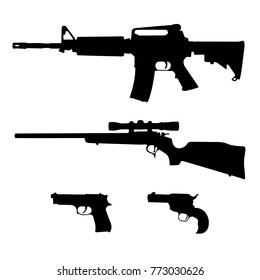 Semi-Automatic Rifle, Bolt Action Rifle and Pistols Silhouette Vector