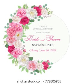 Semicircle garland frame with red and pink roses, white and pink peonies. Wedding floral template collection.Wedding invitation, thank you card, save the date cards. Vector illustration. EPS 10