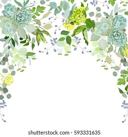 Semicircle garland herbal frame arranged from plants, branches, leaves, succulents and flowers on white background. Echeveria, eucalyptus, green hydrangea. All elements are isolated and editable