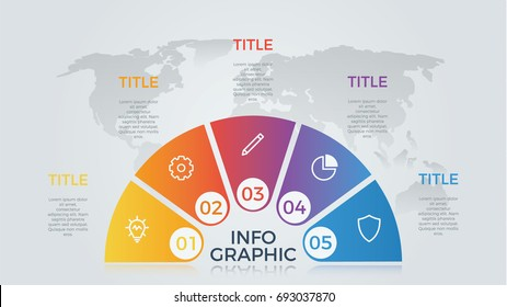 semicircle infographic element with 5 options, vector, light theme, for business presentation template.