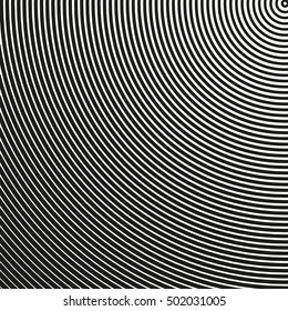 Semicircle pattern with dynamic, irregular lines. Geometric pattern with radiating, converging circles. Ovals geometric pattern.