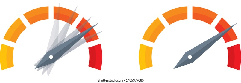 semicircle speed dial. vector speed test design. six-step speed display
