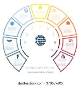 Semicircle template from infographic, can be used for workflow layout, diagram, web design, nine number options, steps, text areas