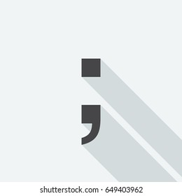 Semicolon symbol with long shadow on white background. Black symbol in a flat design style. Vector illustration, easy to edit.