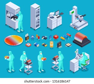 Semicondoctor production icons set with technology and science symbols isometric isolated vector illustration