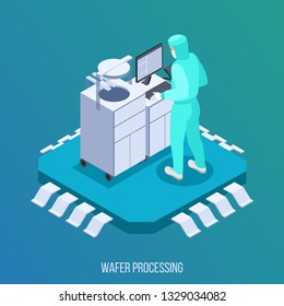 Semicondoctor production isometric composition with wafer processing symbols isometric vector illustration