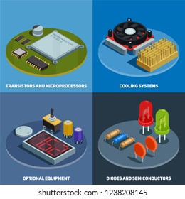 Semiconductor 2x2 design concept set of transistors microprocessors diodes and cooling systems square compositions isometric vector illustration