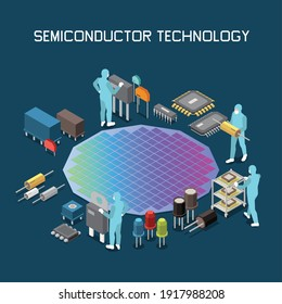 Semiconductor chip production isometric composition with editable text and gradient colored silicon wafer with circuit icons vector illustration