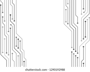 Semiconductor connections of computer hardware, microcircuit, motherboard elements. Processor microchips connections background. Circuit board or motherboard texture vector background graphic design.